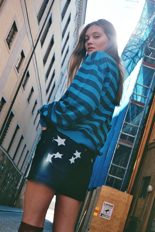 Acne-studios-blue-stripe-sweatshirt-and-star-print-shorts-in-Stockholm-COOL-PRETTY-COOL